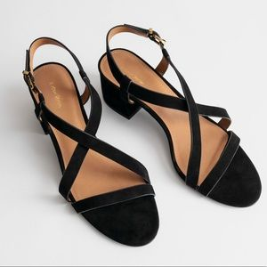& Other Stories Black Criss Cross Suede Sandals 38